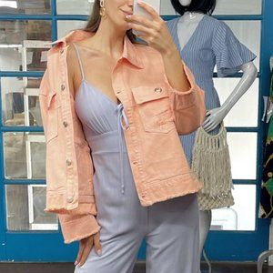 CASUALLY TRENDY Springtime Denim Jacket - Peach